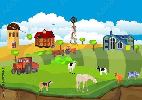 Countryside Illustration Vector Ummer Farm Background Red Barn And Mill In The Summer Field