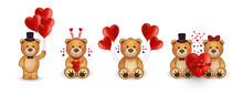 Set Of Funny Cartoon Teddy Bears In Love With Heart.