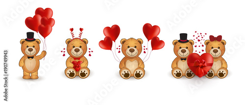 Cuadros en Lienzo Set of funny cartoon teddy bears in love with heart.