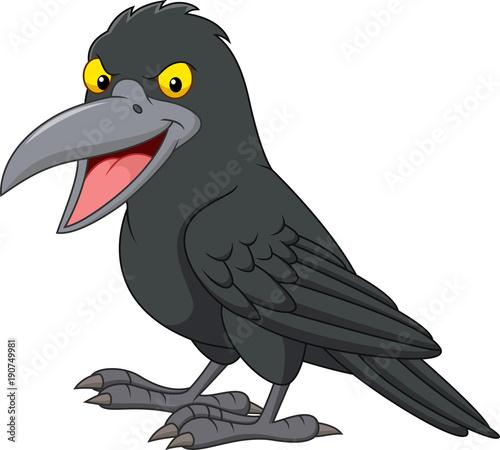 Cartoon crow isolated on white background Fototapeta