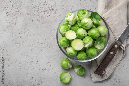 Canvas Prints Brussels fresh raw brussel sprouts in glass bowl.