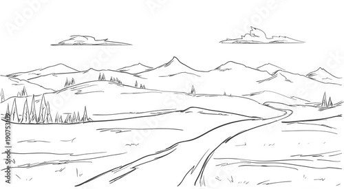 Foto op Aluminium Wit Hand drawn Mountains sketch landscape with road, pine and clouds. Line design