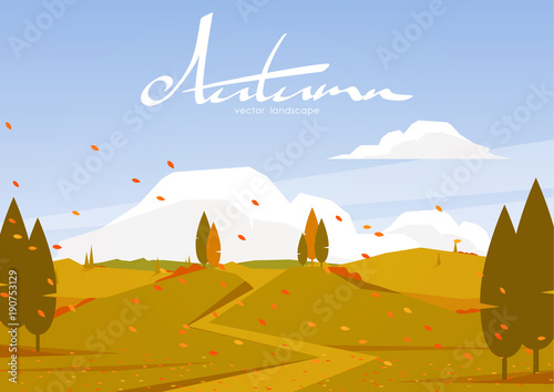 Autumn landscape with road, trees, hills.
