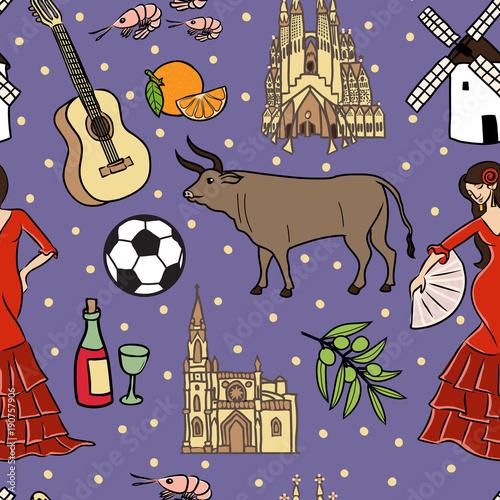 Photo  Spain symbols seamless pattern
