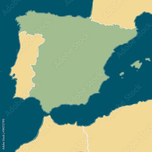 Cartoon map of Spain Wallpaper Mural