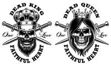 Set Of Skulls King And Queen.