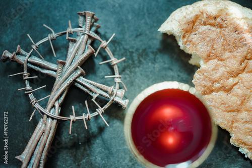 Fotografie, Obraz  Holy communion on wooden table on church