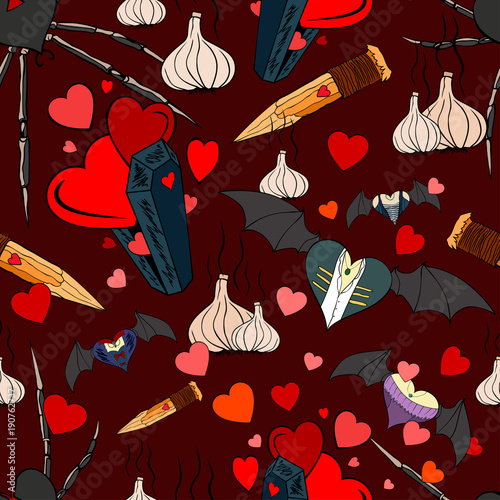 Fototapety, obrazy: Seamless pattern with vampires theme for the Valentine Day