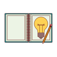Spiral Notebook With Light Bulb In Sheet And Pencil In Colorful Silhouette With Thin Red Contour Vector Illustration