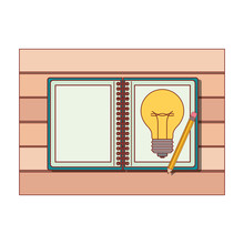 Spiral Notebook With Light Bulb In Sheet And Pencil Over Desk On Top View In Colorful Silhouette With Thin Red Contour Vector Illustration