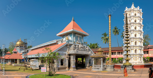 Wall Murals Place of worship Panorama of Shri Mahalsa Indian Temple in Ponda, GOA, India. The opulent Mahalsa temple is one of the most famous temples in Goa.
