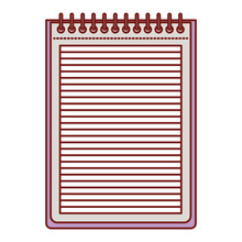 Notebook With Horizontal Lines And Metal Spiral On Top In Colorful Silhouette With Thin Red Contour Vector Illustration