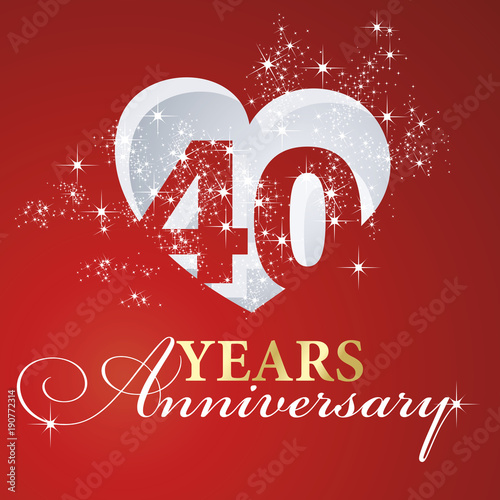 Leinwand Poster  40 years anniversary firework heart red greeting card icon logo