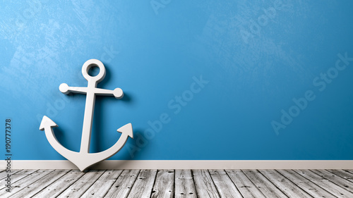 Naval Anchor Symbol on Wooden Floor Canvas Print