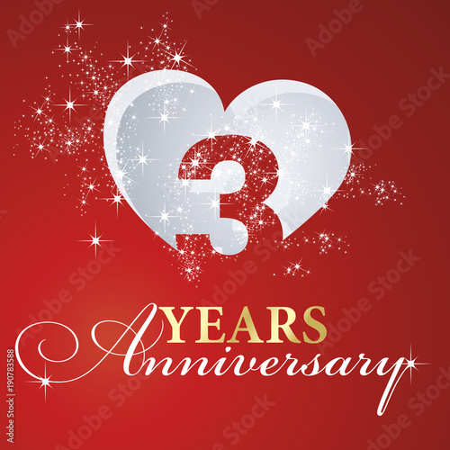 Foto  3 years anniversary firework heart red greeting card icon logo