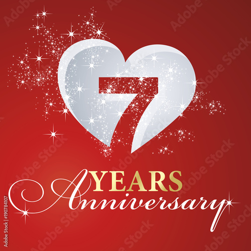 Obraz na plátně  7 years anniversary firework heart red greeting card icon logo