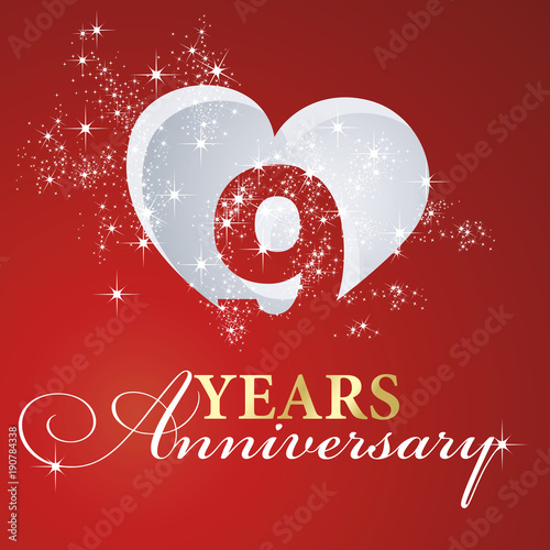 фотография  9 years anniversary firework heart red greeting card icon logo
