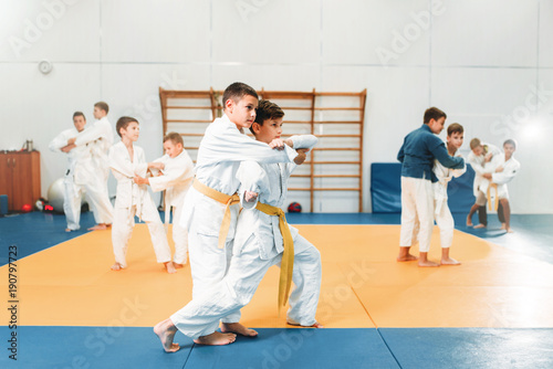 Photo Stands Martial arts Kid judo, childrens training martial art in hall