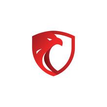 Security Shield Red Eagle Logo Design Template Vector