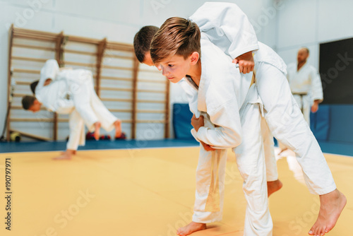 Foto auf AluDibond Kampfsport Kid judo, young fighters on training, self-defense