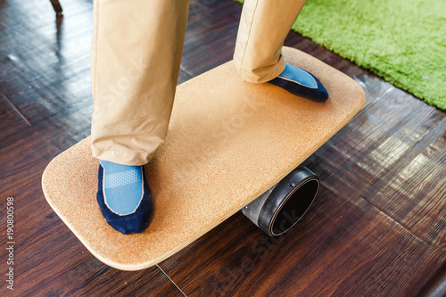 Photo  balance board as fun and healthy leisure