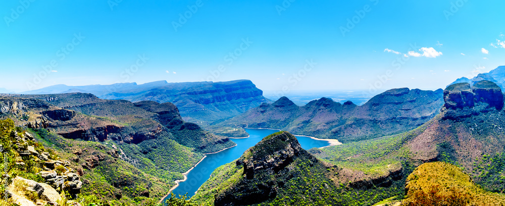 Fototapety, obrazy: View of the highveld and the Blyde River Dam in the Blyde River Canyon Reserve, along the Panorama Route in Mpumalanga Province of South Africa