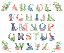 Watercolor Alphabet With Peoni...
