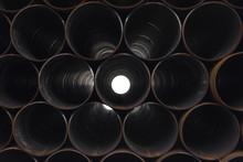 Big Steel Pipes. New Metal Tubes. .