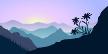 Mountains, Edelweiss And Forest At Sunrise. Landscape With Silhouettes. Vector Illustration