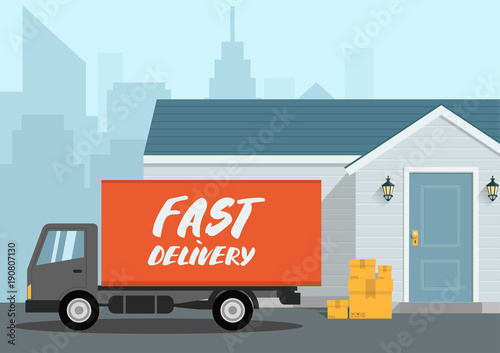 Fotografie, Obraz  Vector fast delivery concept in flat style - illustration for banner for website