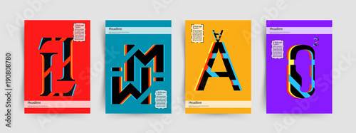 modern typographic colorful covers letters l m a o with abstract