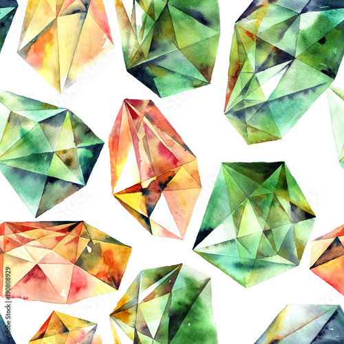 Watercolor painted diamonds Wallpaper Mural
