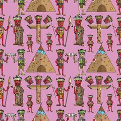 seamless pattern illustration American Indian style flat purple background