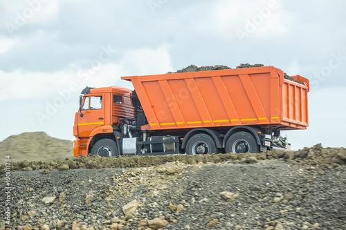 dumper on a motorway under construction