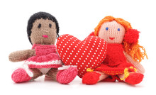 Knitted Dolls And Toy Heart.