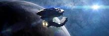 Huge Spaceship In Orbit Of Pla...