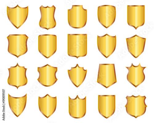 Obraz na plátně Set golden shields – stock vector