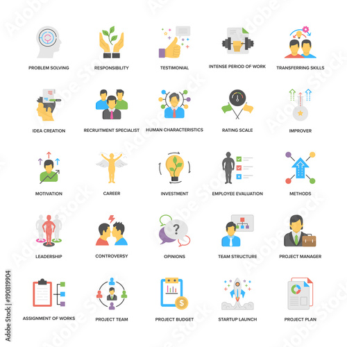 Fotografía  Project Management Vector Icons Set In Flat Design