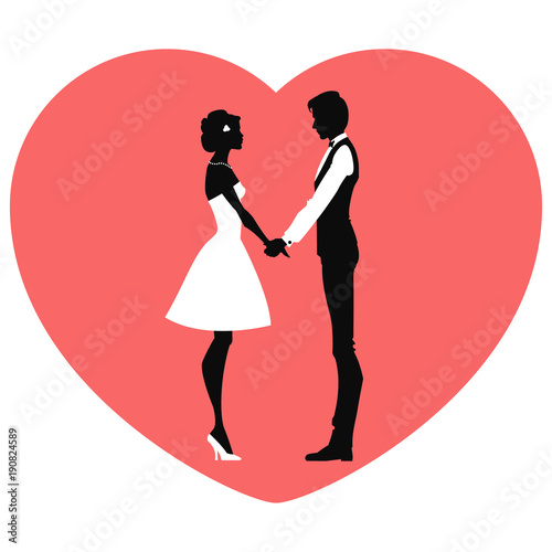 Black Silhouette Of Loving Couple Valentine S Day Vector