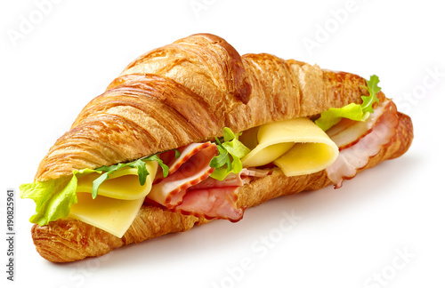 Fototapeta croissant sandwich with ham and cheese obraz