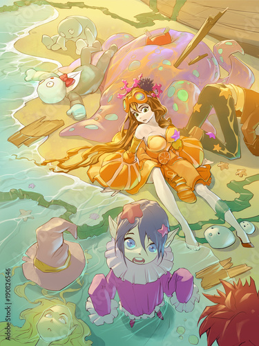 Fotobehang Dinosaurs Fantasy anime cartoon illustration of some funny characters in colorful costumes sitting on a sunny sea beach