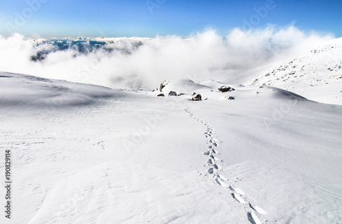 Footsteps lead along a snowfield to the summit of Mt Canvas-taulu