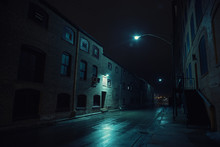 Dark Urban City Alley At Night...