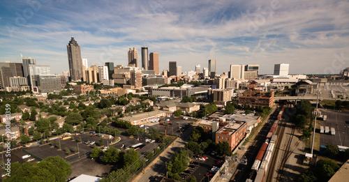 Plakat Nad miasto linii horyzontu Atlanta GA śródmieścia półmrok Gruzja