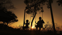 Silhouetted Children Boy And G...