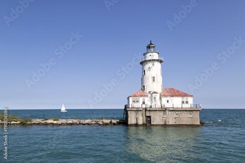 Montage in der Fensternische Leuchtturm Chicago Light House