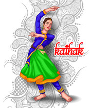 Illustration Of Indian Kathak Dance Form