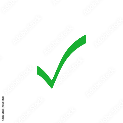 Green check mark symbol on white background  - Buy this stock vector