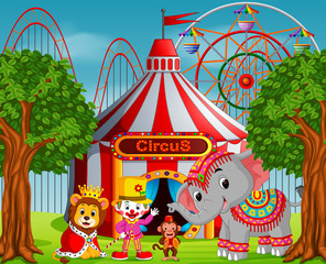 Clown and many animal with circus tent at amusement park