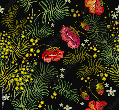 Tuinposter Vlinders Embroidery red roses and mimosa flowers seamless pattern. Beautiful red roses and yellow mimosa classical embroidery seamless pattern. Template for clothes, t-shirt design